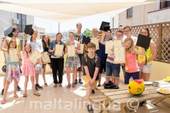 A group of English students who have completed their language course
